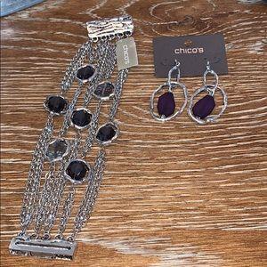 Purple stone and silver chain bracelet & earrings